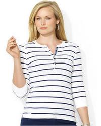 White and navy henley shirt original 2980383
