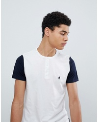 French Connection Henley Contrast Sleeve T Shirtmarine