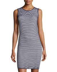 Neiman Marcus Ribbed Stripe Sleeveless Dress Navywhite