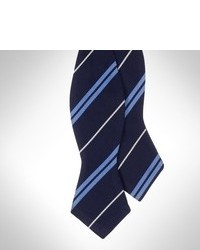 White and Navy Horizontal Striped Bow-tie