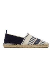 White and Navy Horizontal Striped Canvas Espadrilles
