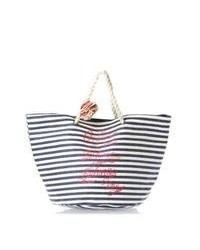 White and Navy Horizontal Striped Canvas Tote Bag