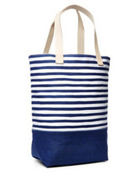 Stripe square tote navywhite medium 59430