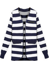 Choies Blue Long Sleeve Stripe Knit Cardigan