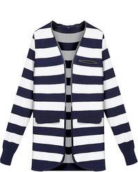 Choies blue long sleeve stripe knit cardigan medium 99530