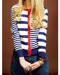 Choies Blue Stripes Cardigans With Long Sleeve