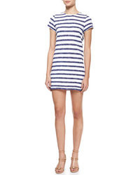White and Navy Horizontal Striped Casual Dress