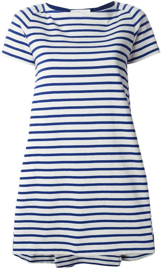 89a4fa3687f8 ... White and Navy Horizontal Striped Casual Dresses Sacai Luck Striped T  Shirt Dress