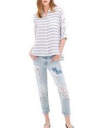 ChicNova Half Sleeves Blue Stripes Lapel Collar Blouse