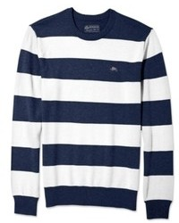 Men's White and Navy Horizontal Striped Crew-neck Sweater, Khaki ...