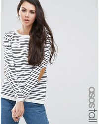Asos Tall Asos Tall Sweater In Stripe With Oval Tan Elbow Patch