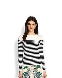BCBGMAXAZRIA Kayann Striped Sweater Navy Combo