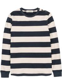 H&M Block Striped Sweater Dark Bluewhite