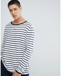 FoR Boat Neck Jumper In White Stripe
