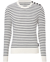 Burberry Brit Cashmere Cotton Blend Striped Pullover