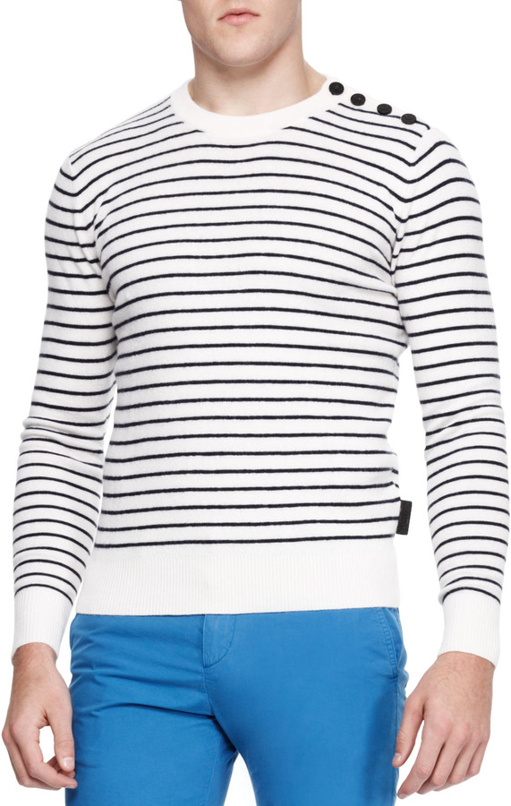 Burberry Brit Striped Tri Blend Crewneck Sweater Whiteblue