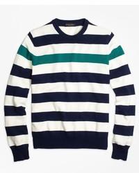 Brooks brothers contrast chest stripe crewneck sweater medium 430622