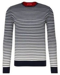 Hugo Boss Sfade Cotton Striped Sweater Mblue