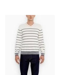 Levi's Striped V Neck Sweater Navy Stripe