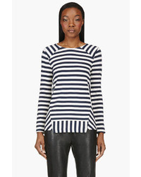 Navy stripe crewneck sweater medium 27193