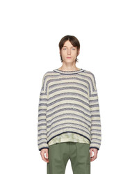 Loewe Off White And Navy Wool Striped Sweater