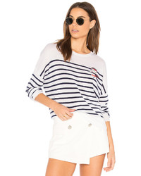 Patches crew neck pullover in white medium 3649160