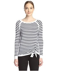 Shae Sh Stripe Pullover With Front Tie