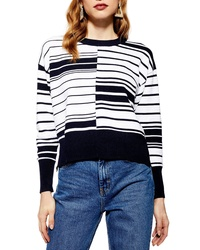 Topshop Spliced Ottoman Striped Sweater