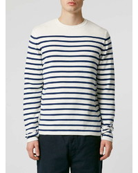 Topman Navy Breton Stripe Crew Neck Sweater