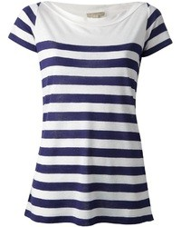 White and Navy Horizontal Striped Crew-neck T-shirt