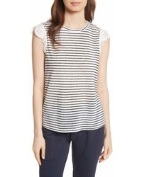 Acenath eyelet sleeve stripe linen tee medium 6986478
