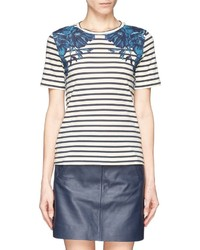 Nobrand Hanna Nautical Stripe Flower Print T Shirt