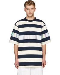 Juunj navy white metallic stripe oversize t shirt medium 184963