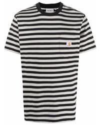 Carhartt WIP Logo Striped Organic Cotton T Shirt