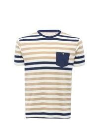 M&Co Stripe Pattern Short Sleeve Chest Pocket Crew Neck T Shirt Navy M