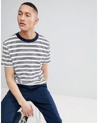 Mango Man Fine Striped T Shirt In Navy