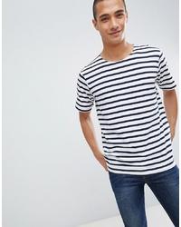 Mango Man Striped T Shirt In Blue