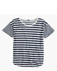 J.Crew Mixed Stripe Vintage Cotton T Shirt With Rounded Hem