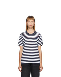 Acne Studios Navy And White Classic Fit Striped T Shirt