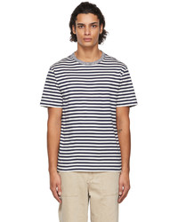 Officine Generale Navy Off White Striped T Shirt