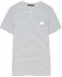 Acne Studios Nele Face Appliqud Striped Cotton Jersey T Shirt White