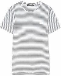 Acne Studios Nele Face Appliqud Striped Cotton Jersey T Shirt White