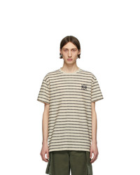 Loewe Off White And Navy Striped Anagram T Shirt