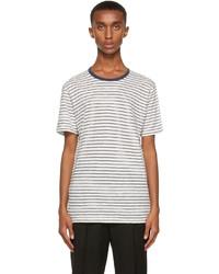 Sunspel Off White Navy Striped T Shirt