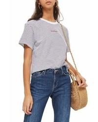 Topshop Petite Stripe Sweetheart T Shirt