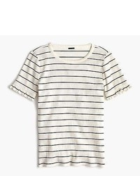 J.Crew Ribbed Striped T Shirt With Ruffled Sleeves