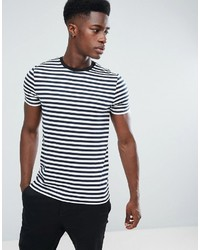 Asos Stripe T Shirt In Navy And White
