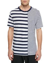 Alexander Wang T By Mixed Stripe Short Sleeve Tee
