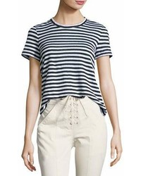 A.L.C. Tesi Striped Linen Tee Blackwhite