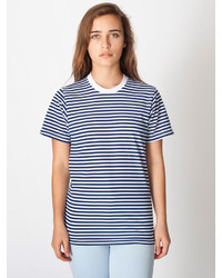 American Apparel Unisex Poly Cotton Stripe Crew Neck